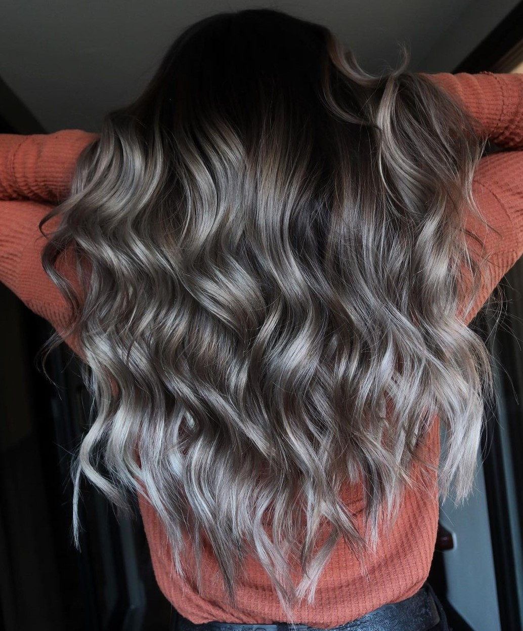 Brunette Curls with Gray Highlights