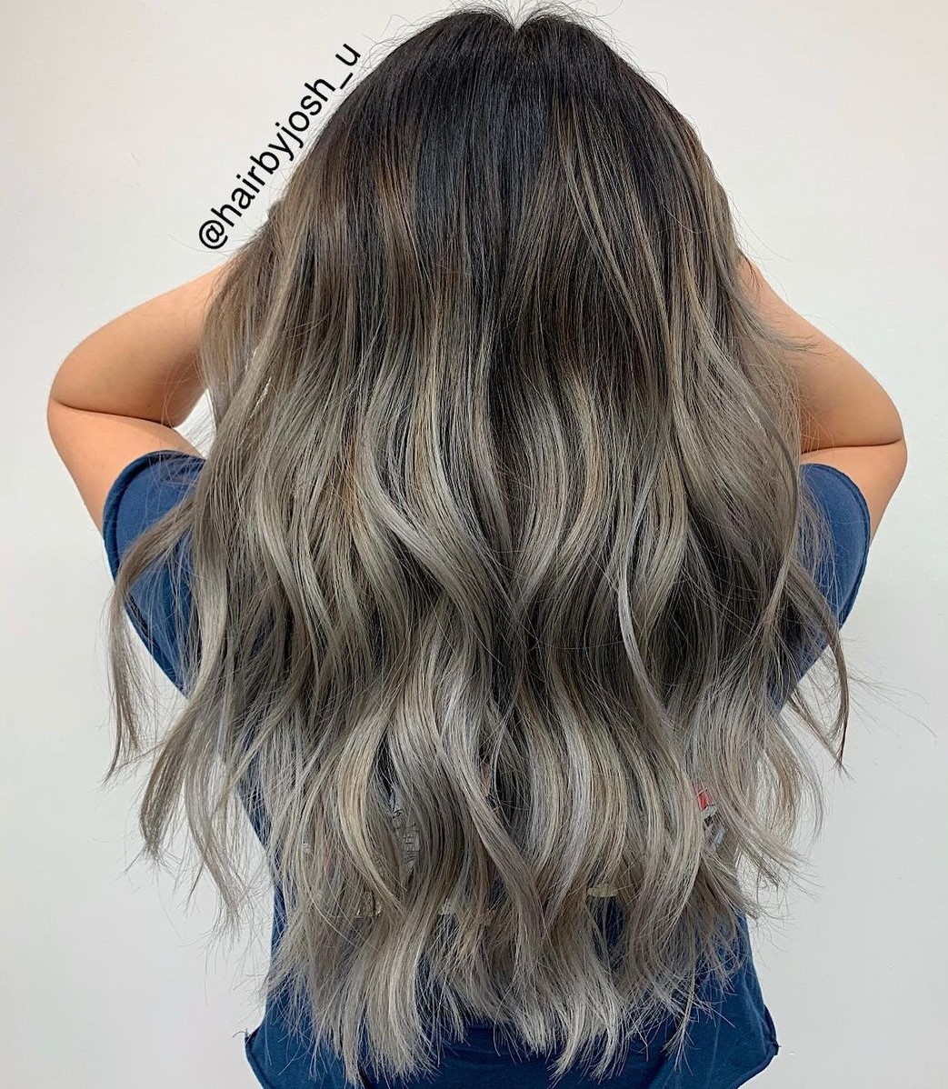 Gray Brown Highlights and Black Roots