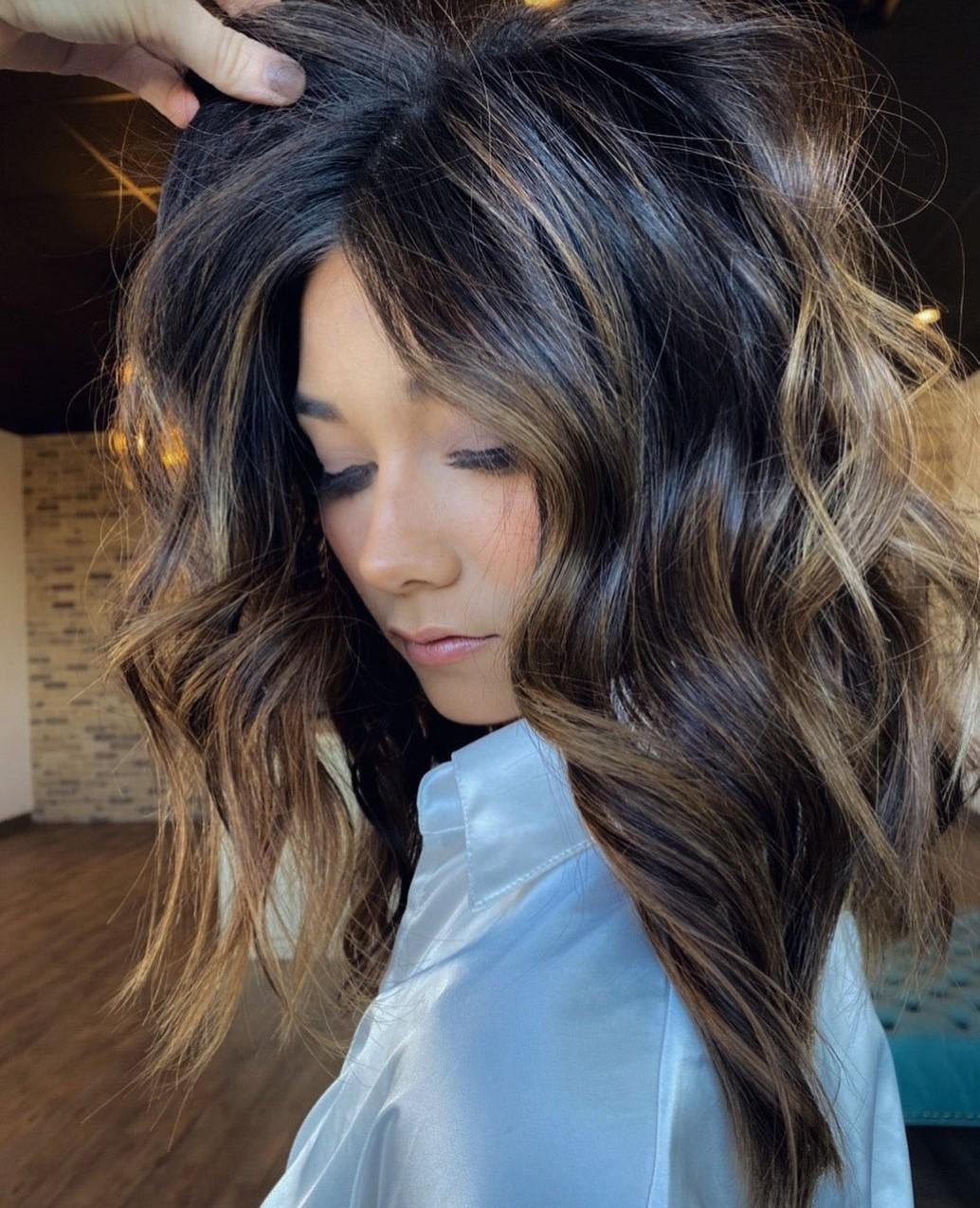 Sun-Kissed Highlights for Dark Hair