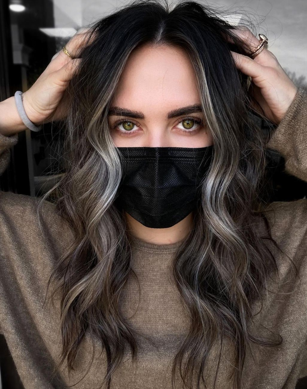 Gorgeous Dark Hair with Face-Framing Highlights
