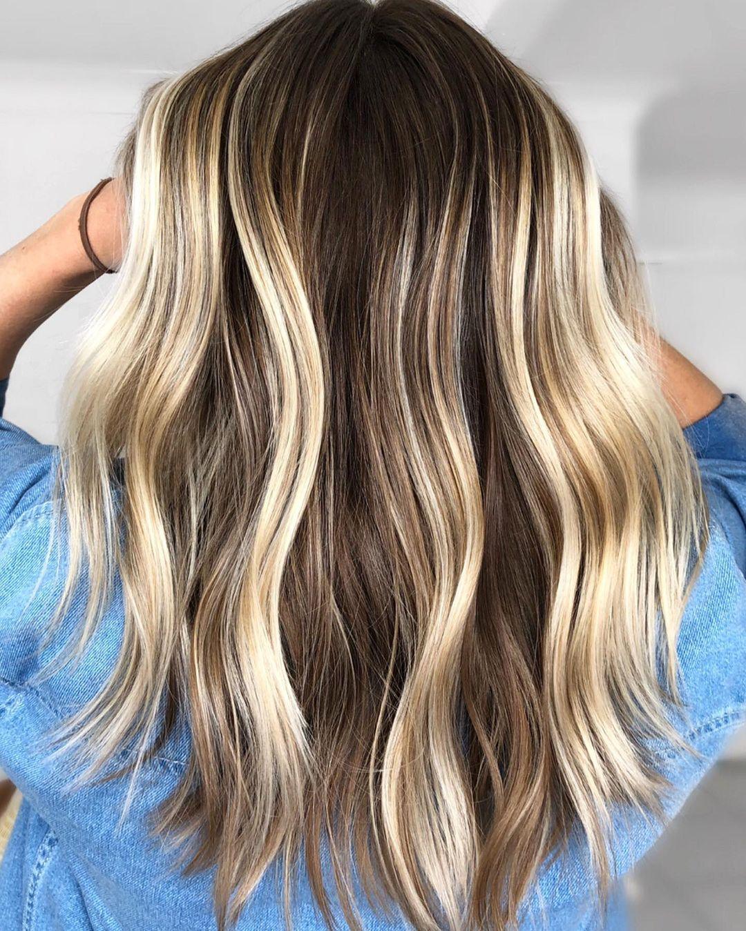 Brown Hair with Dimensional Blonde Streaks