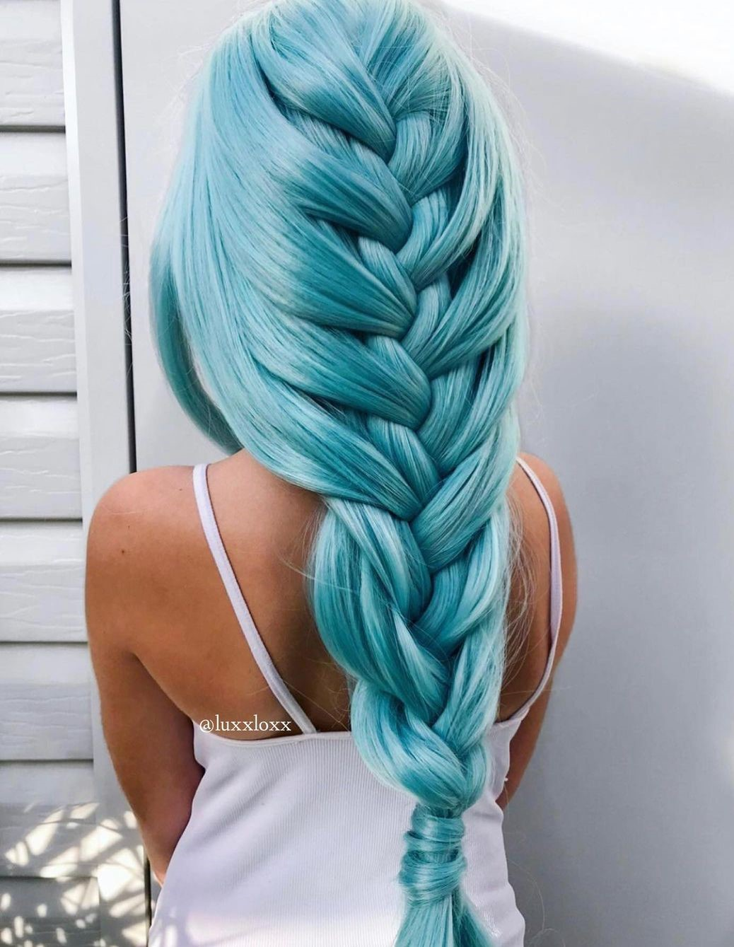 Simple Loose Braid for Turquoise Hair