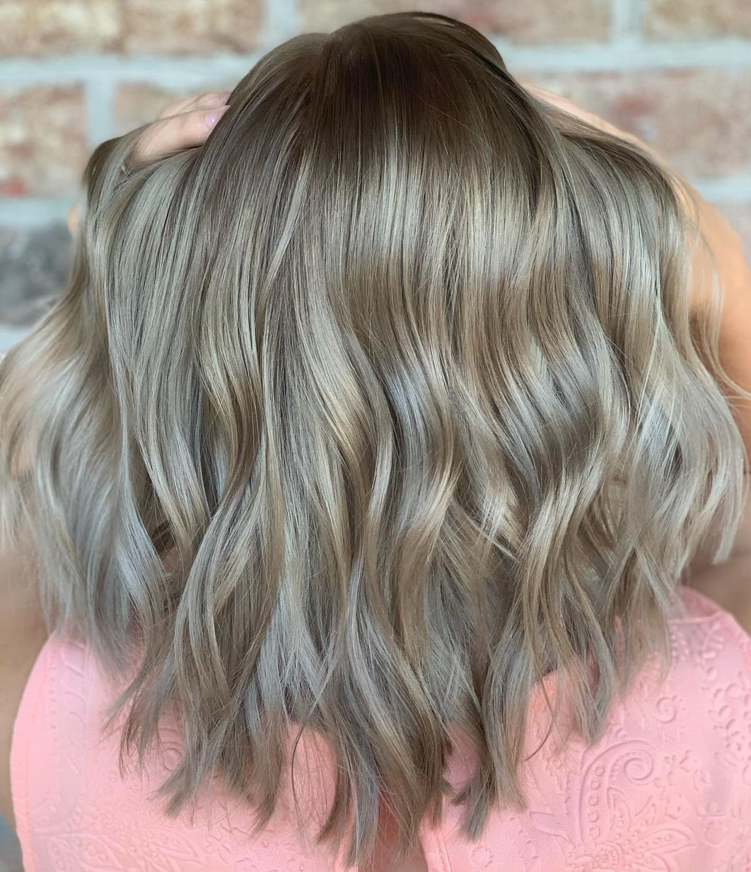 Warm Blonde and Gray Highlights