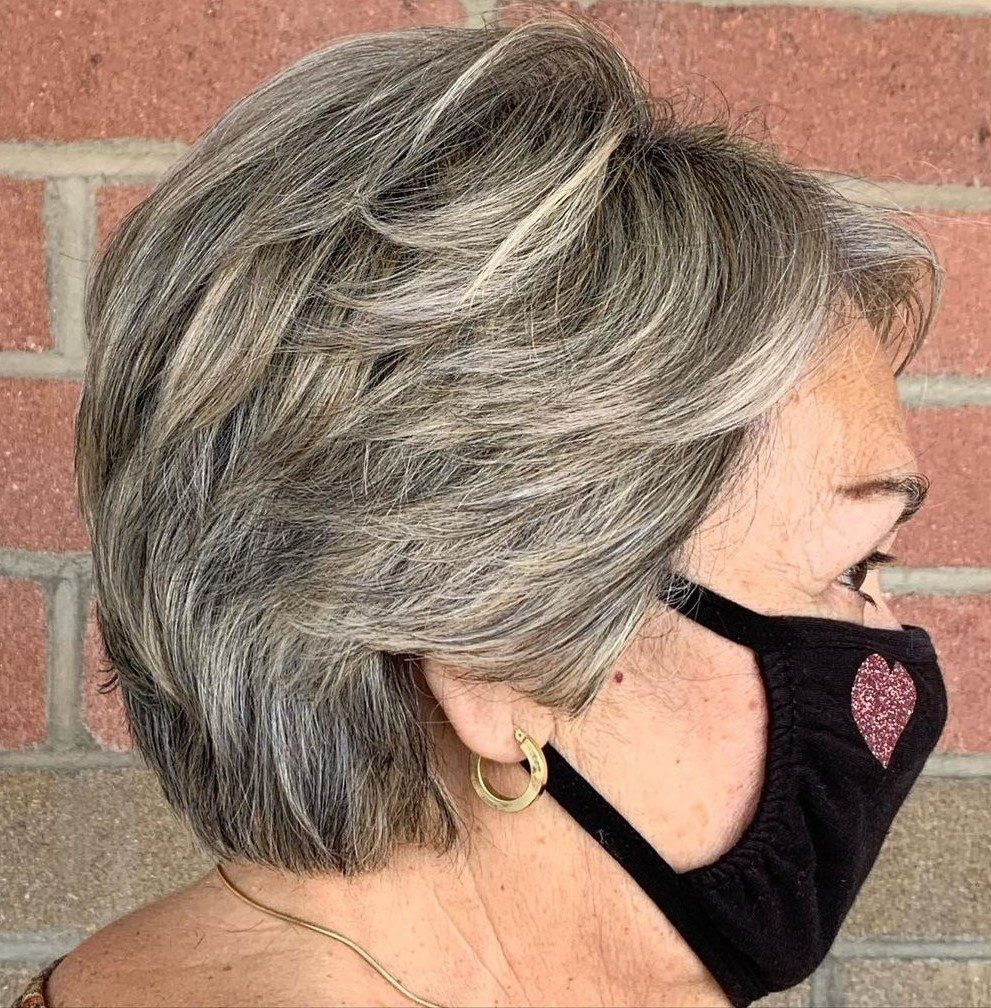 Gray Blonde Pixie Cut for Overweight Ladies