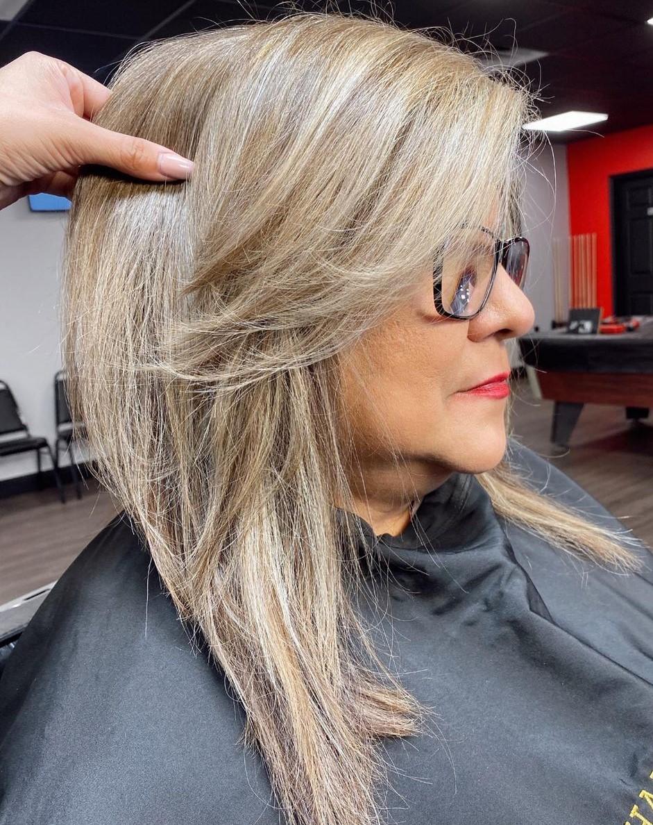 Medium Straight Haircut for Overweight Women
