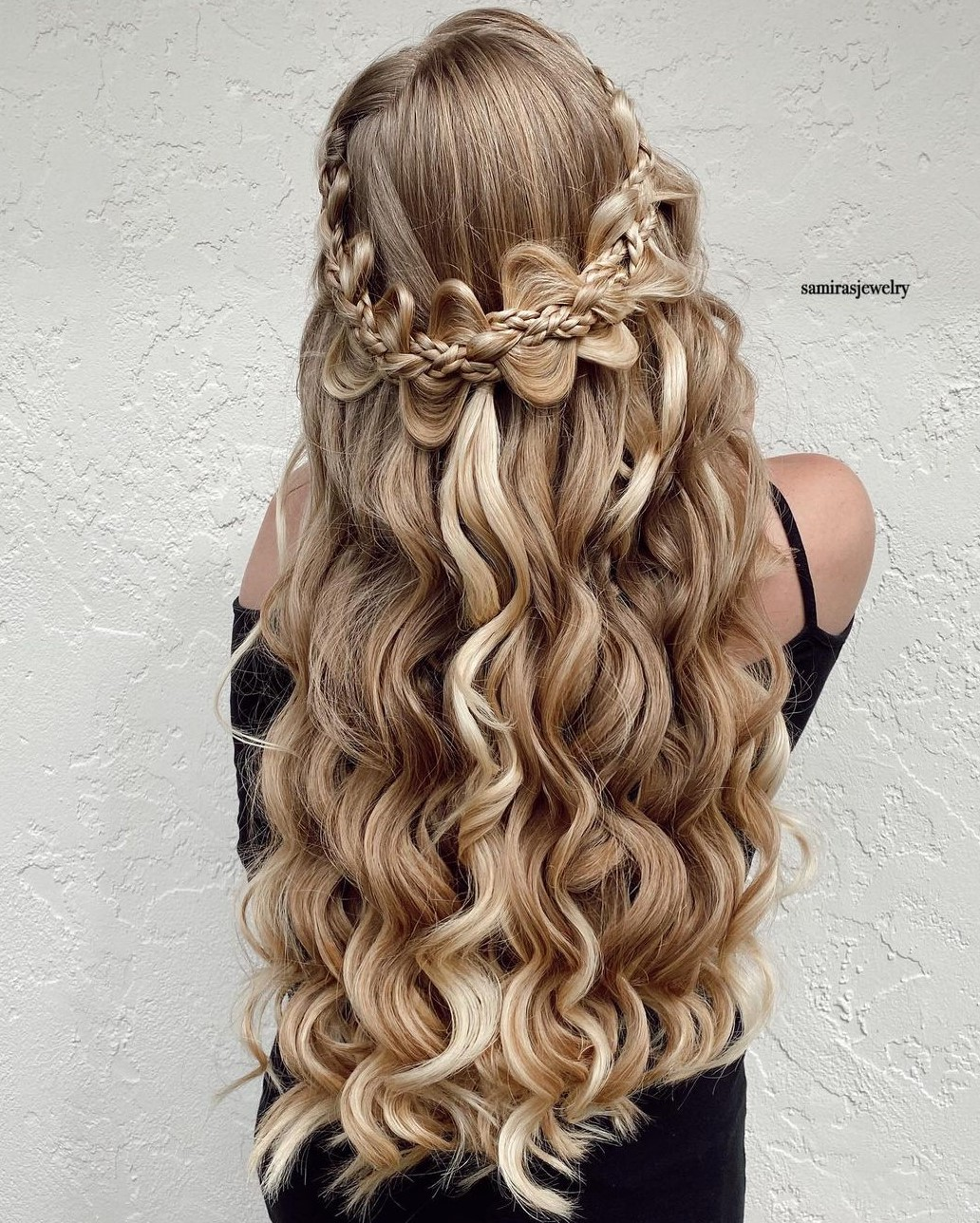 Half-Up Crown Braid for Curly Hair