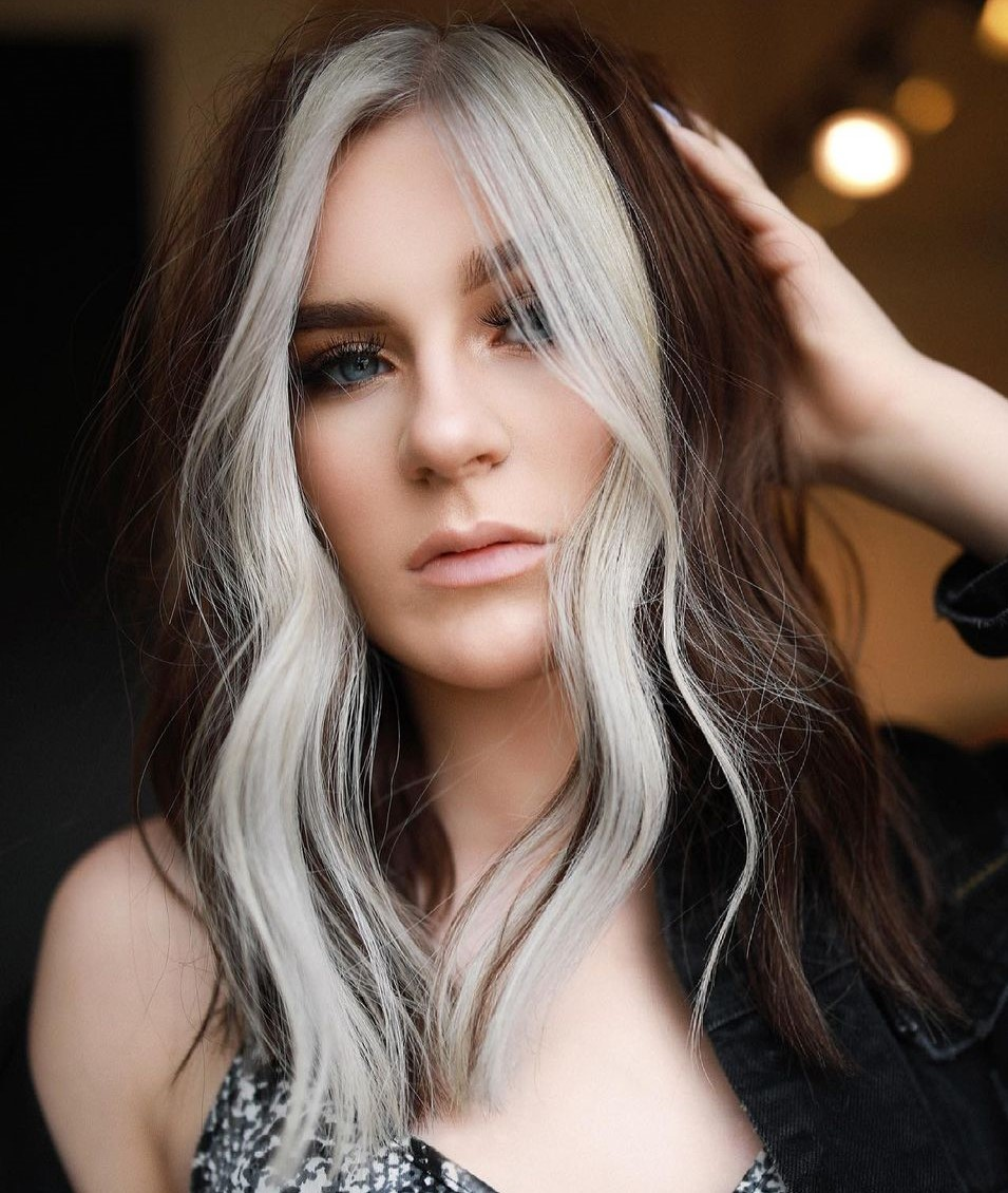 Dark Hair with Platinum Face-Framing Highlights