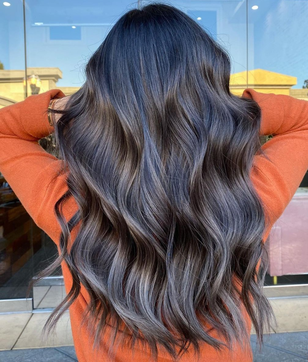 Brunette Hair with Ash Highlights
