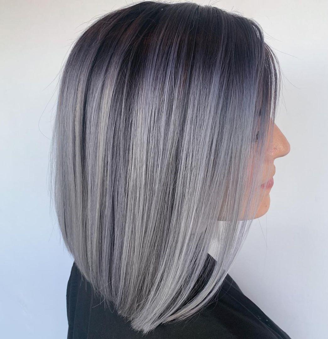 Elegant Gray Root Fade