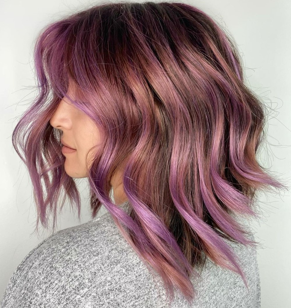Reddish Brown Hair with Purple Contouring