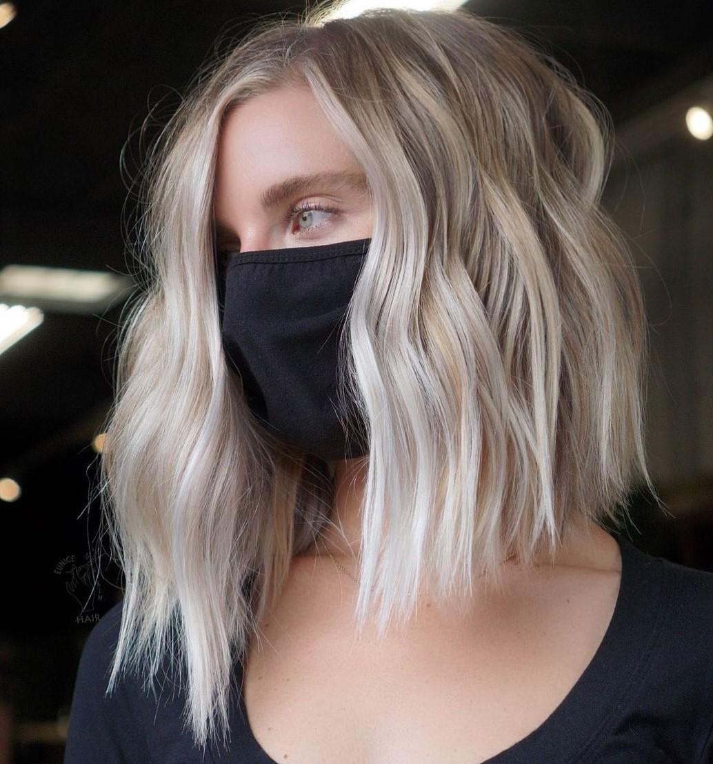 Medium-Length Asymmetrical Blonde Hair