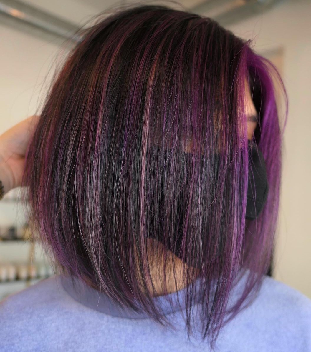 Purple Highlights for Brown Bob