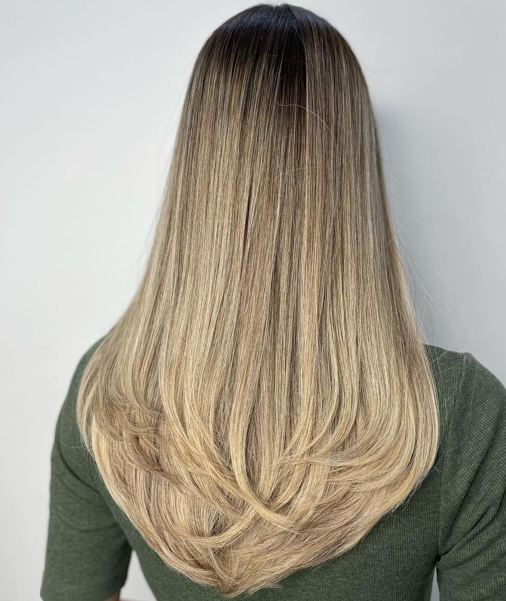 Two-Tier V-Cut for Long Hair