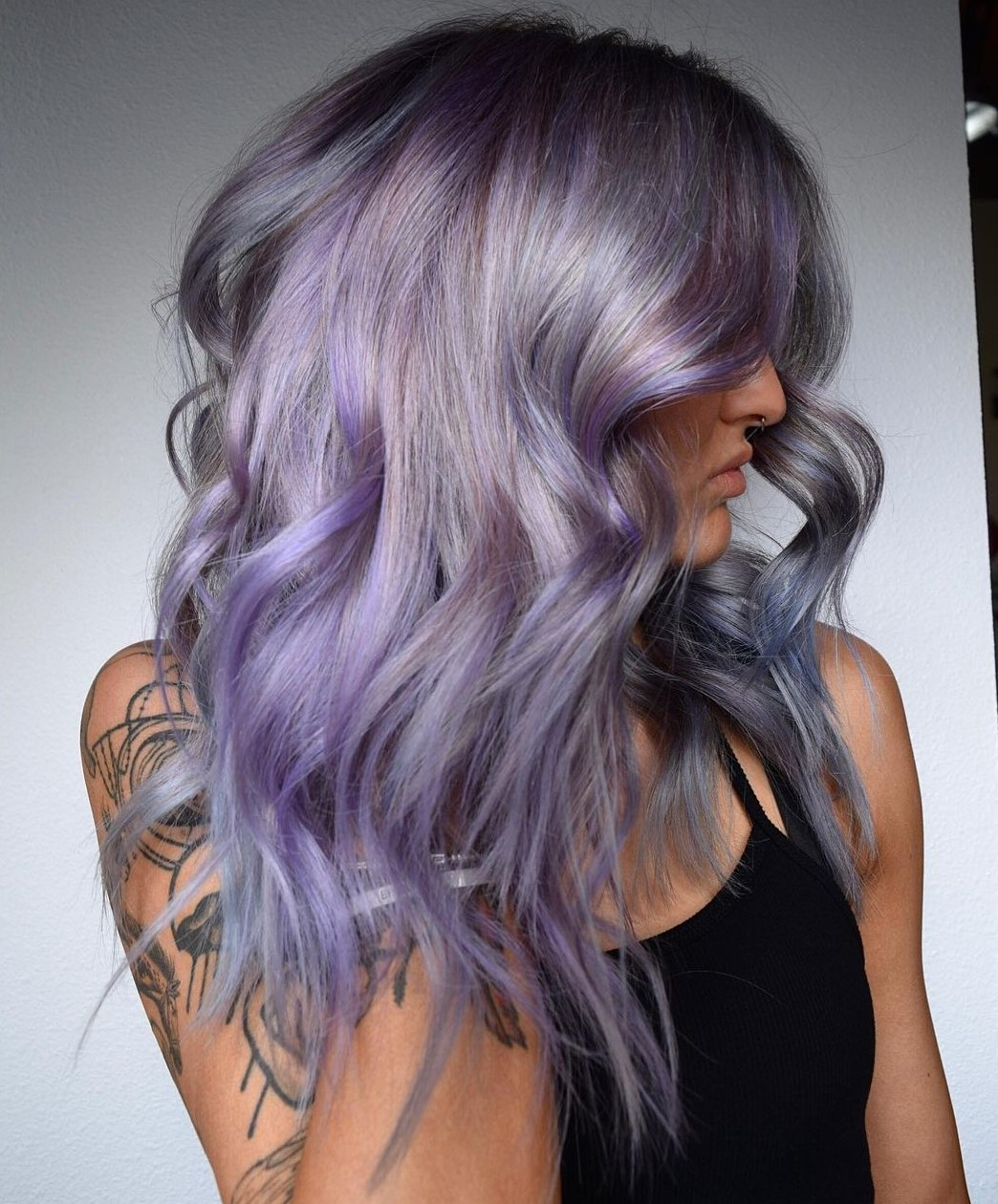 Purple Highlights for Gray Hair