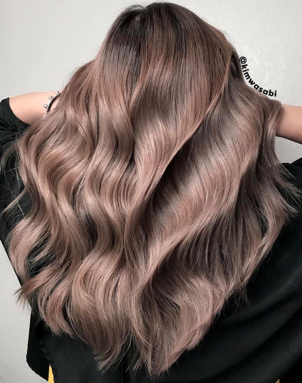 Long Mushroom Brown Hair with Beach Curls