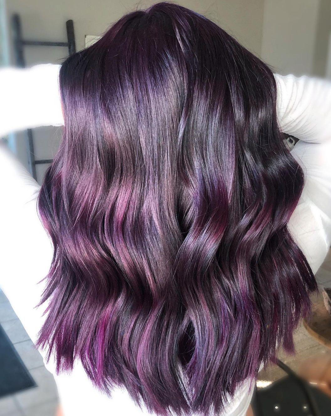 Purple Balayage Highlights for Black Hair