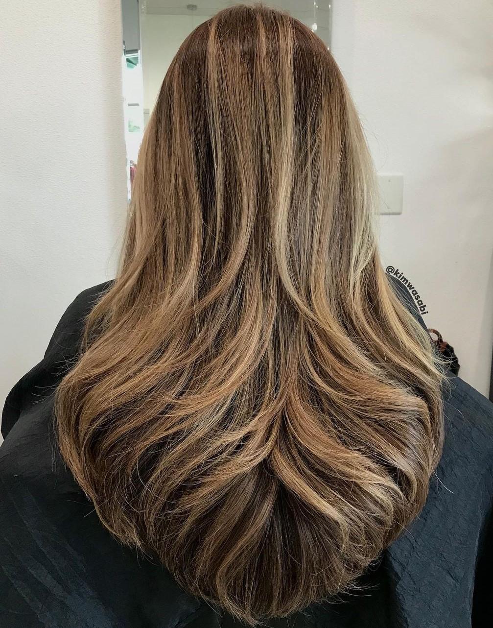Long Layered V-Cut Hairstyle