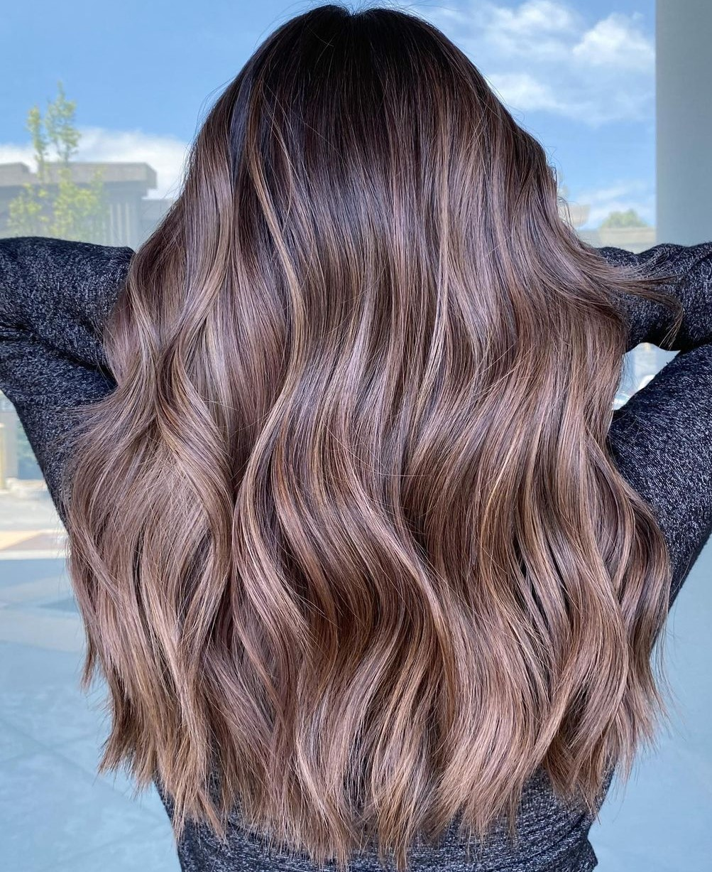 Dark Caramel Haircut and Mushroom Highlights