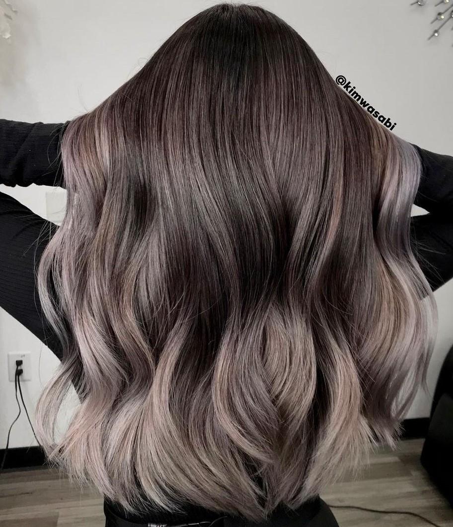Brunette Hair with Light Mushroom Highlights