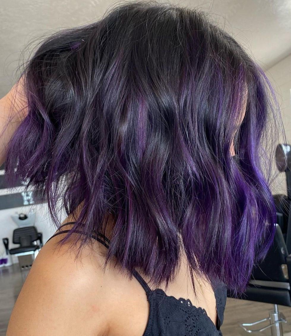 Shaggy Black Lob with Purple Highlights