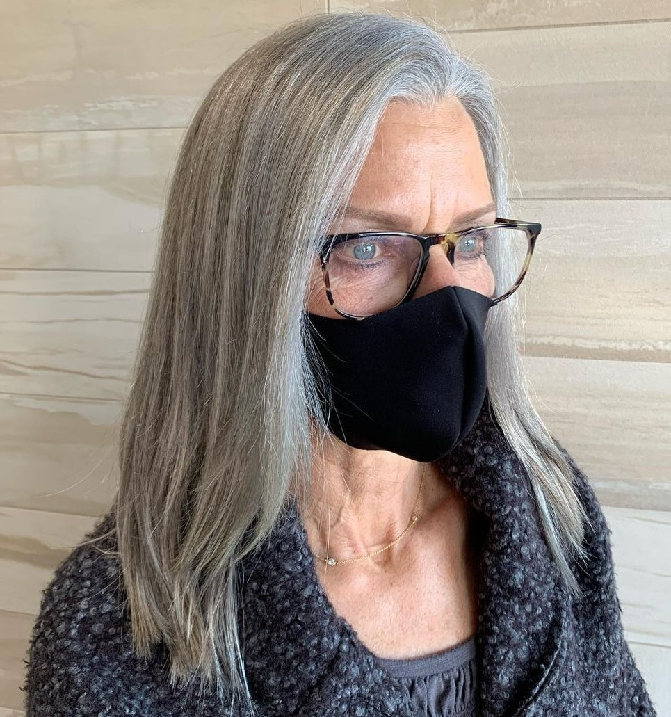 Shoulder-Length Gray Hairstyle Over 50