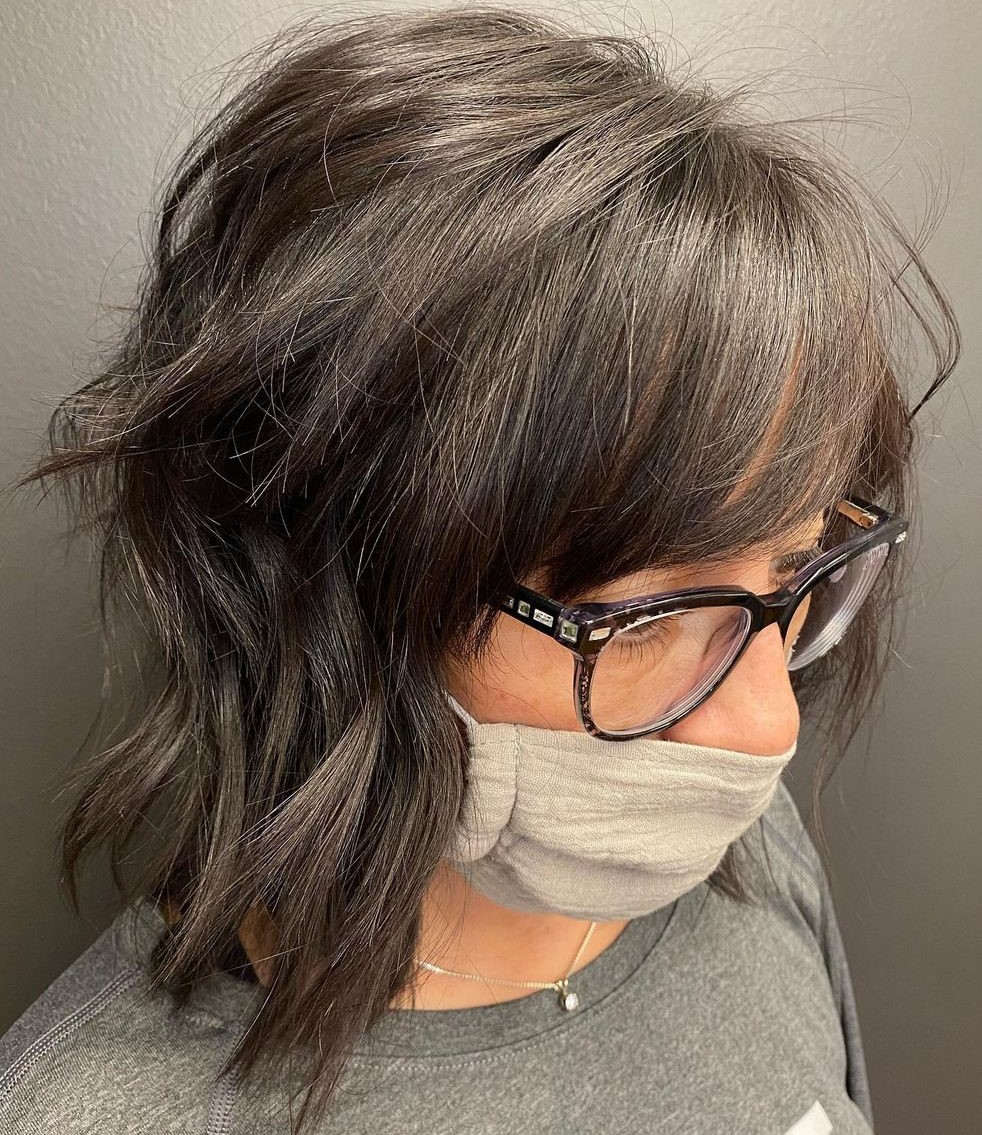 Medium Layered Haircut for Over 50-Year-Old Women