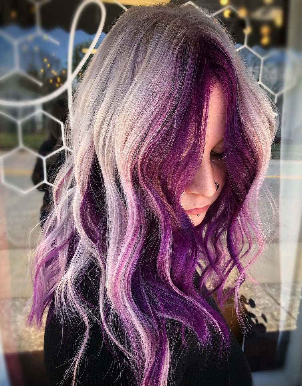 Gray Blonde Hair with Plum Money Pieces