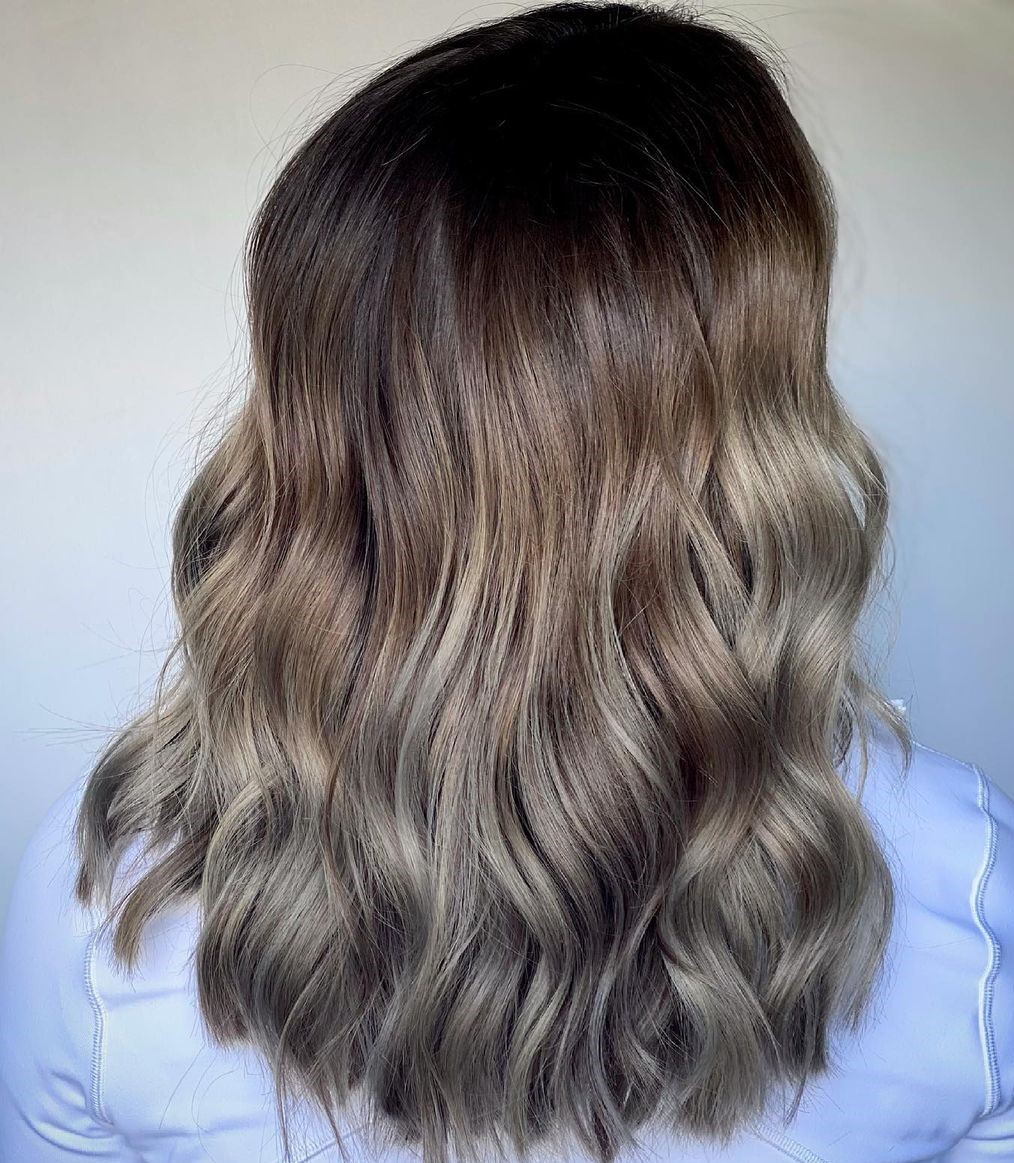 Wavy Mushroom Ombre Hair with Dark Roots
