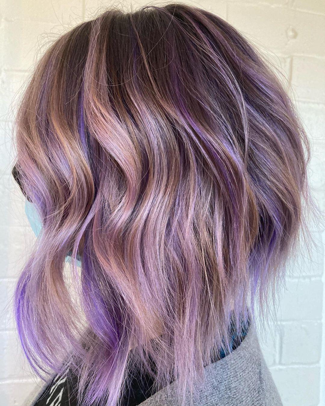 Bronde Lob with Purple Highlights