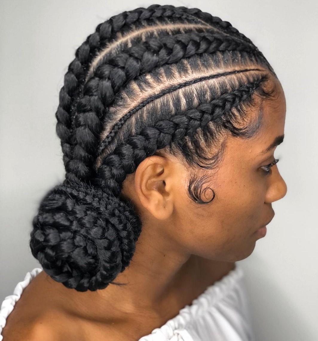 Fancy Ghanaian Cornrow Braids with a Bun