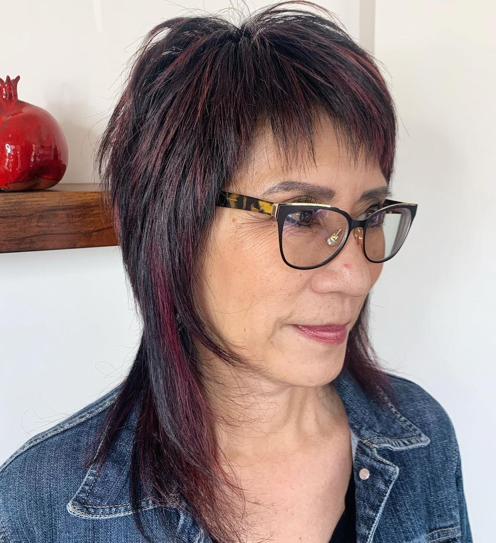 Over 50 Shag with Glasses for Fine Hair