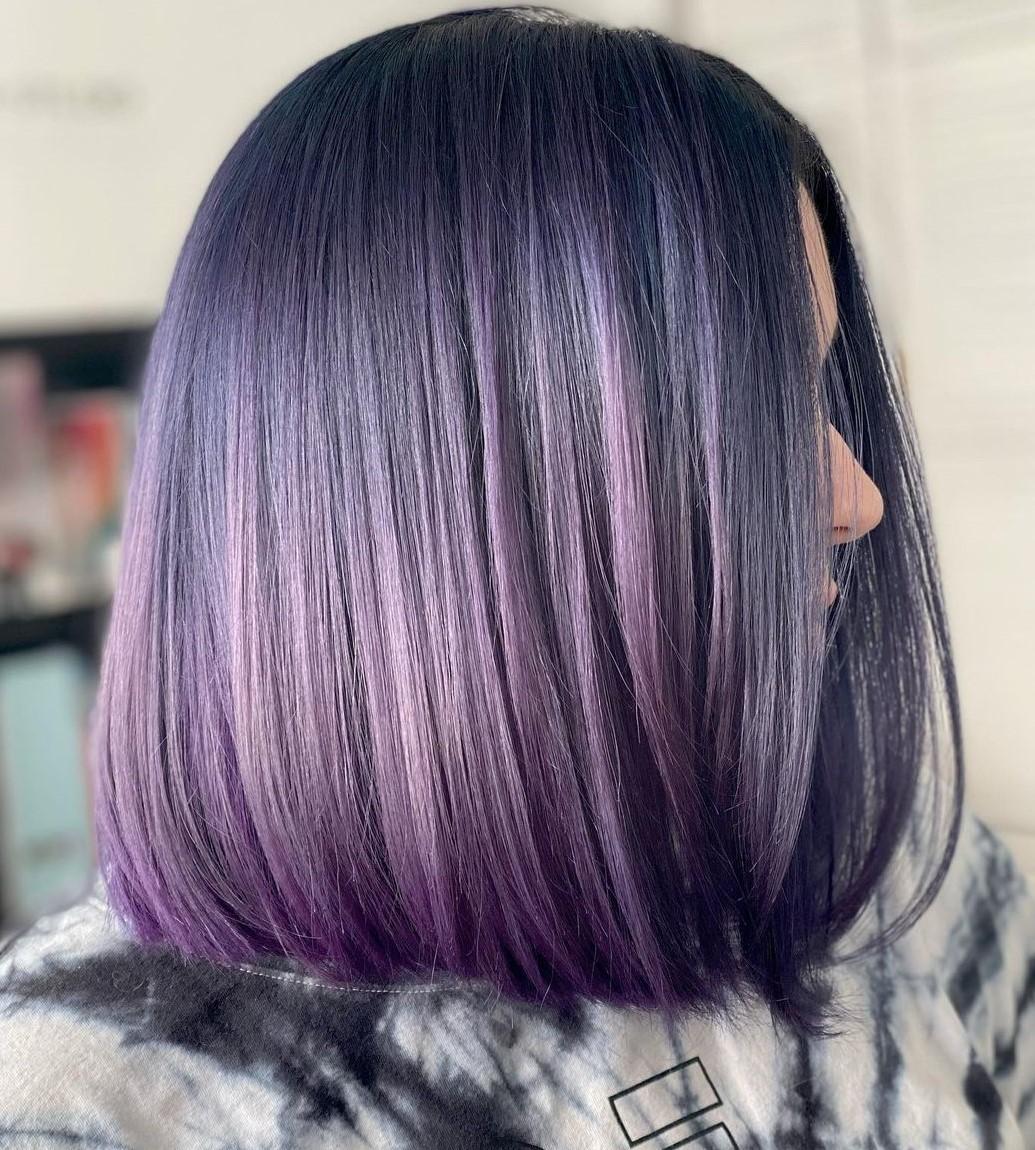 Purple Highlights for Black A-Line Lob