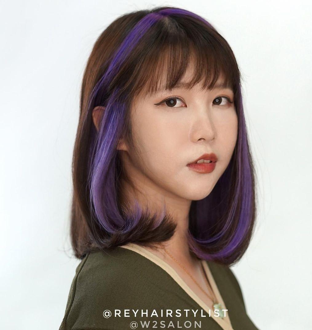 Korean Lob with Purple Highlights