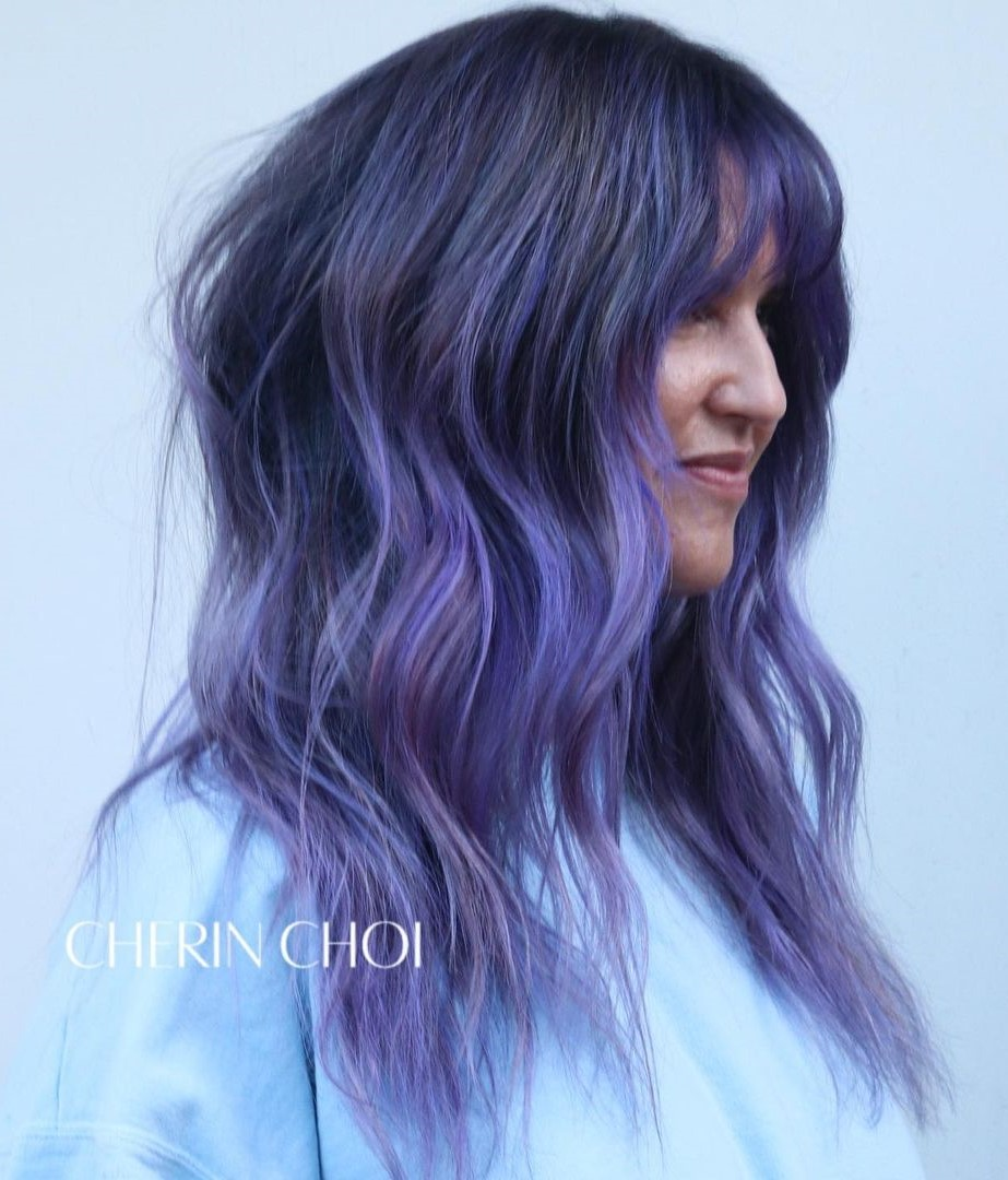 Blue Purple Highlights on Black Hair