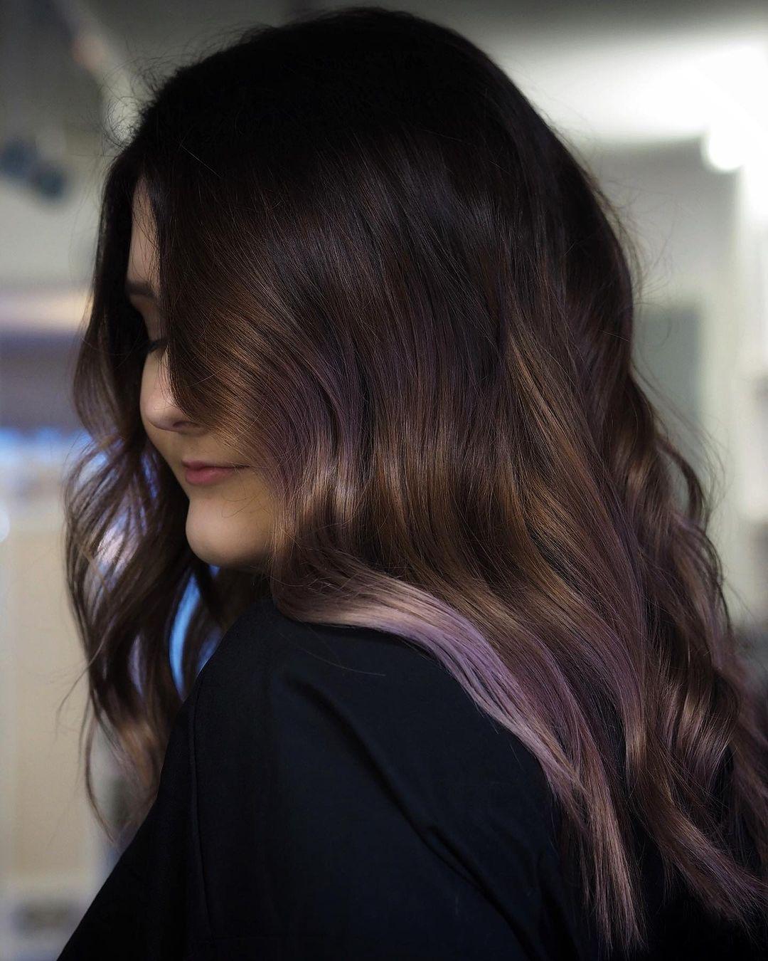 Dark Mushroom Hair with Violet Highlights