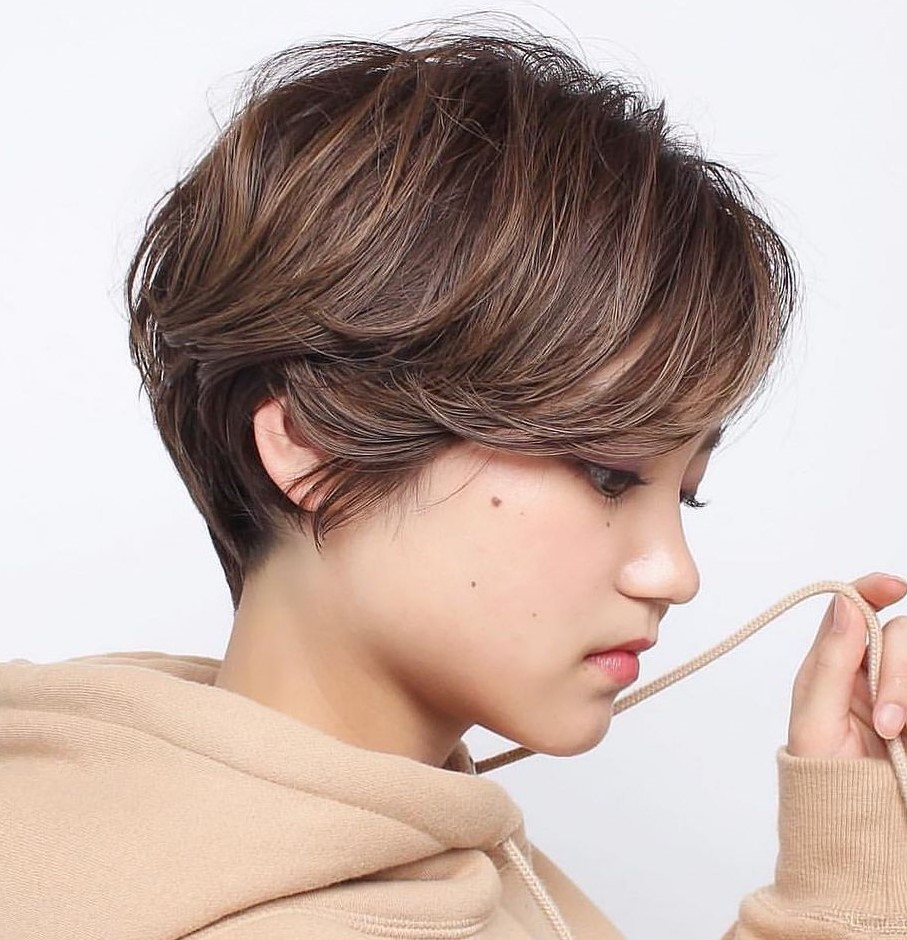 Short Brown Hair with Subtle Highlights