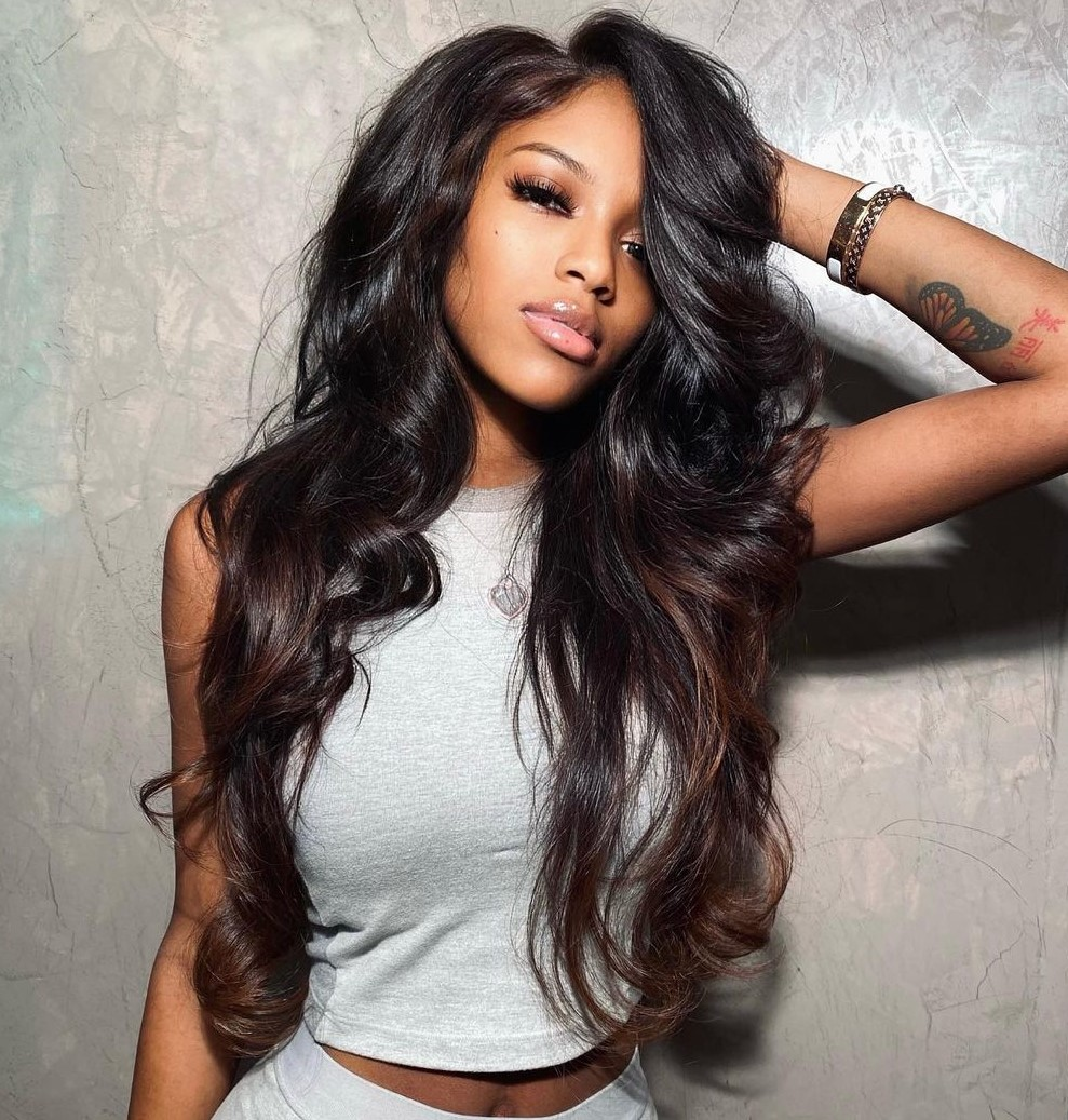 Long Weave Hairstyle with Bouncy Curls