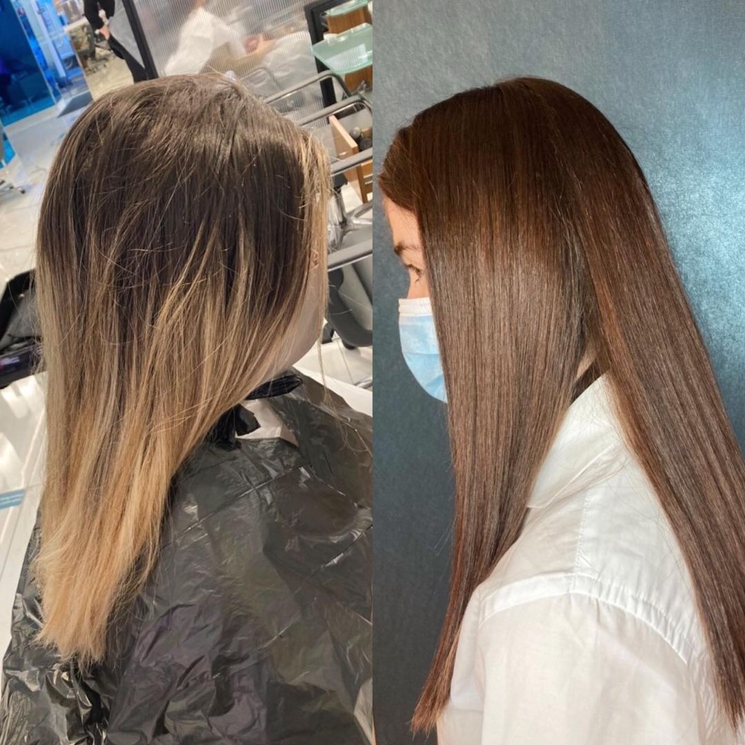 Salon Hair Gloss Treatment Before After Picture