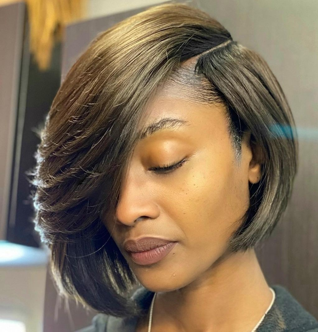 Flawless Bob Weave with a Side Part
