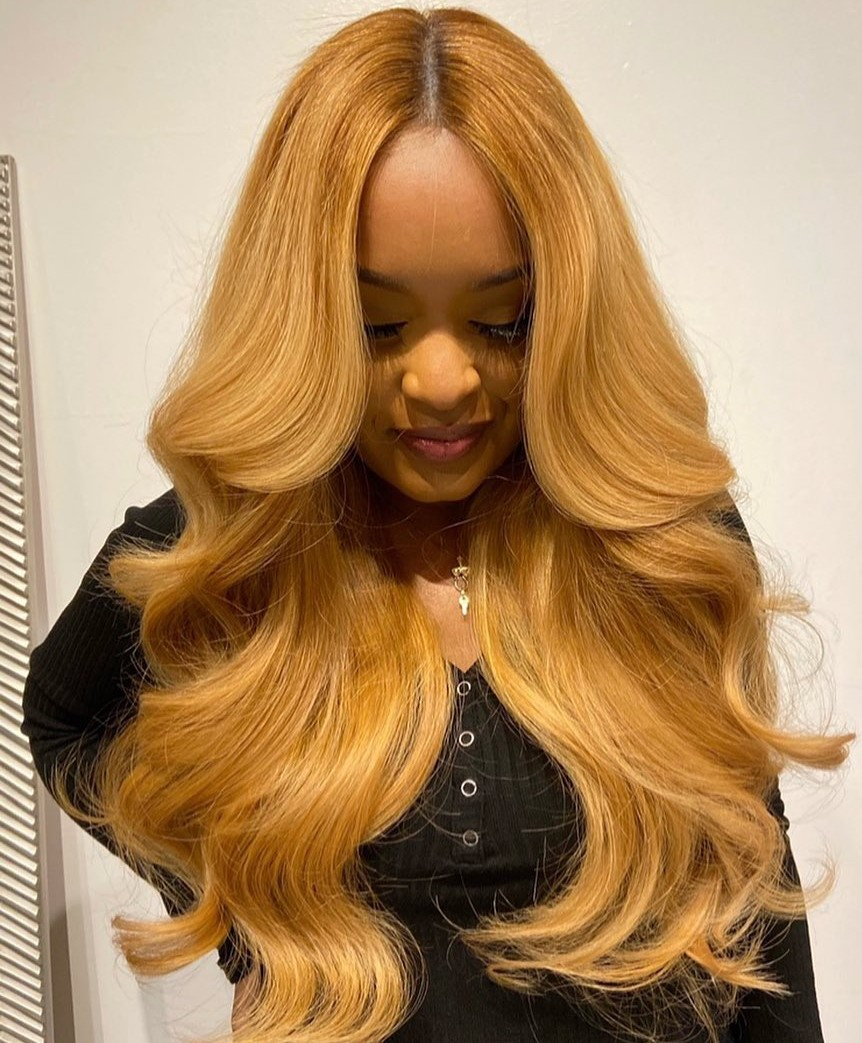 Bright Honey Blonde Weave with a Middle Part