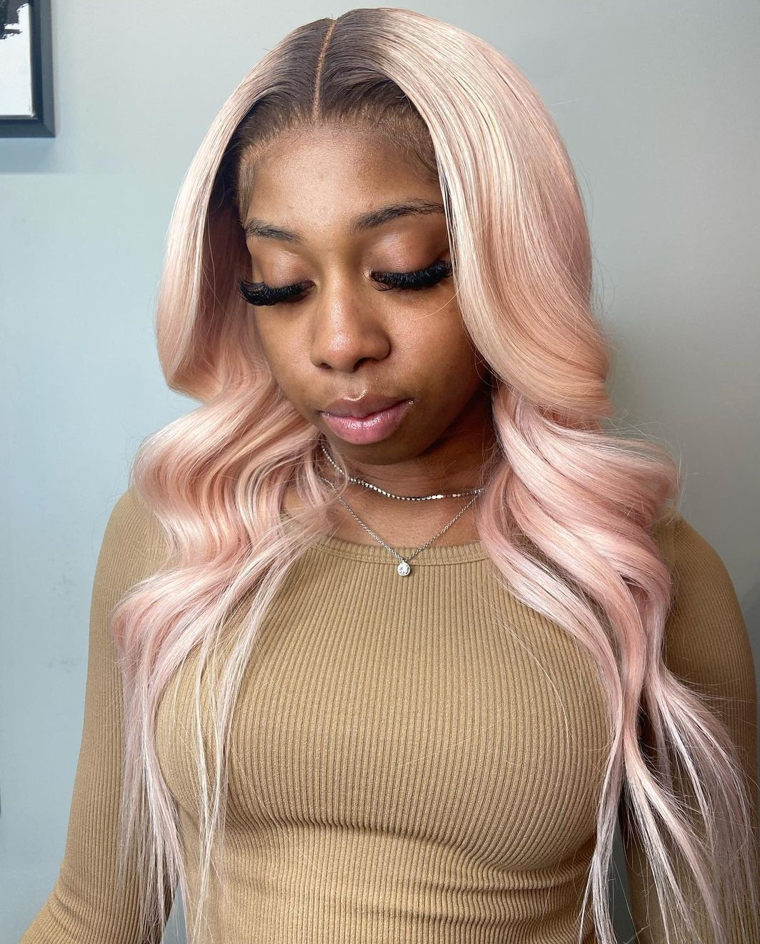 Pastel Pink Wig with Shadow Roots
