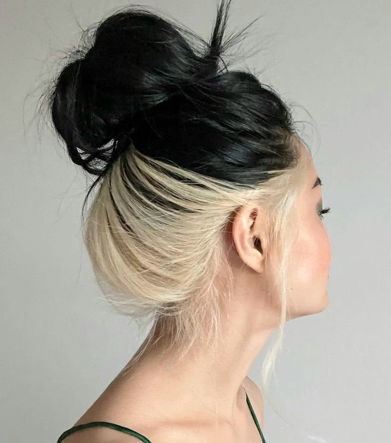 Black Hair with Underneath Bleaching