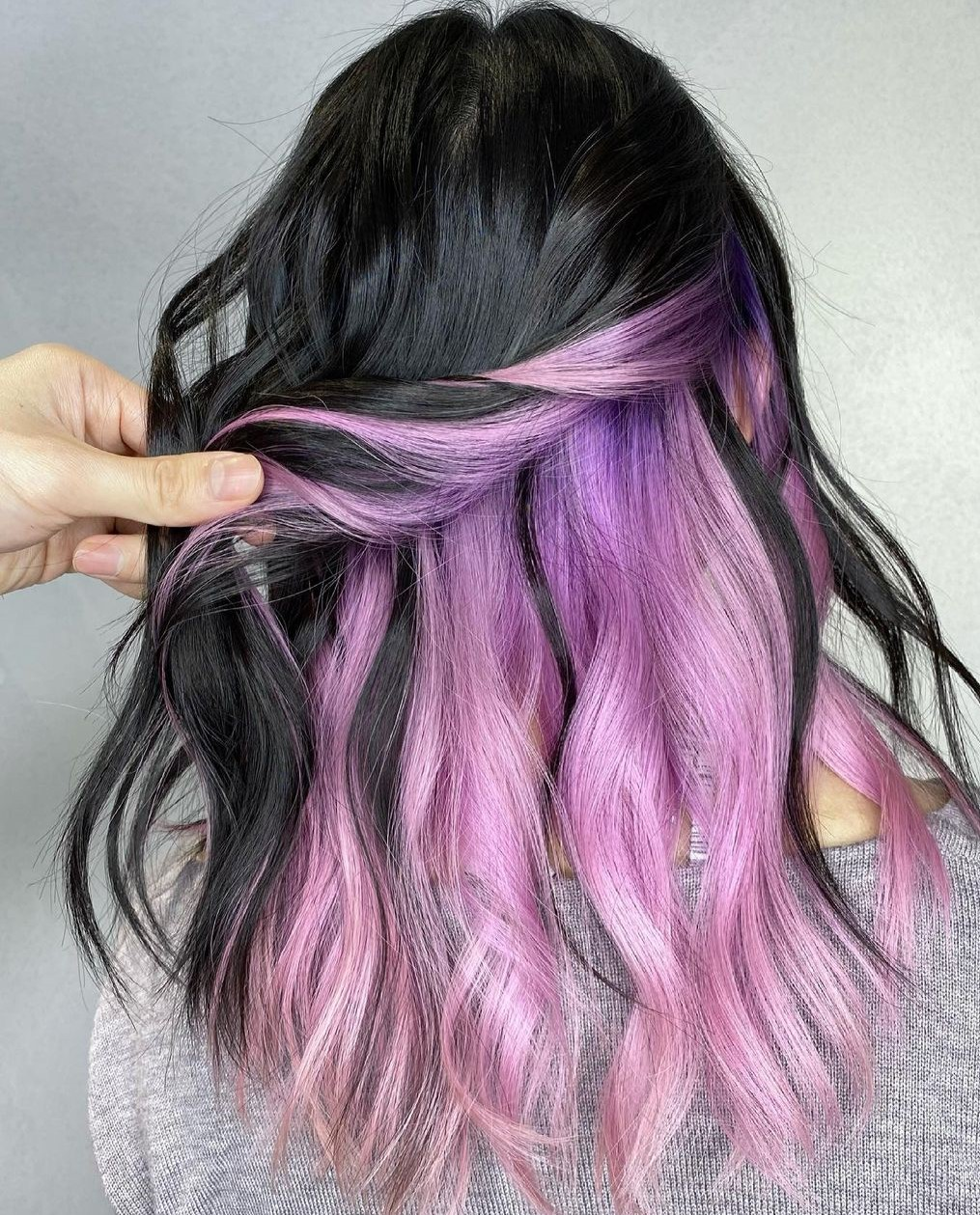 Brunette Hair with Lilac Underlayer
