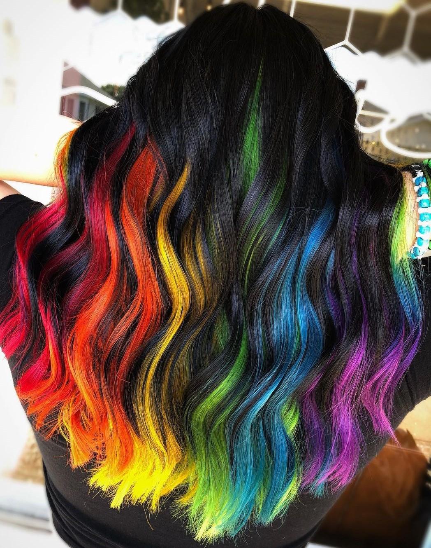 Rainbow Peekaboo Highlights for Black Hair