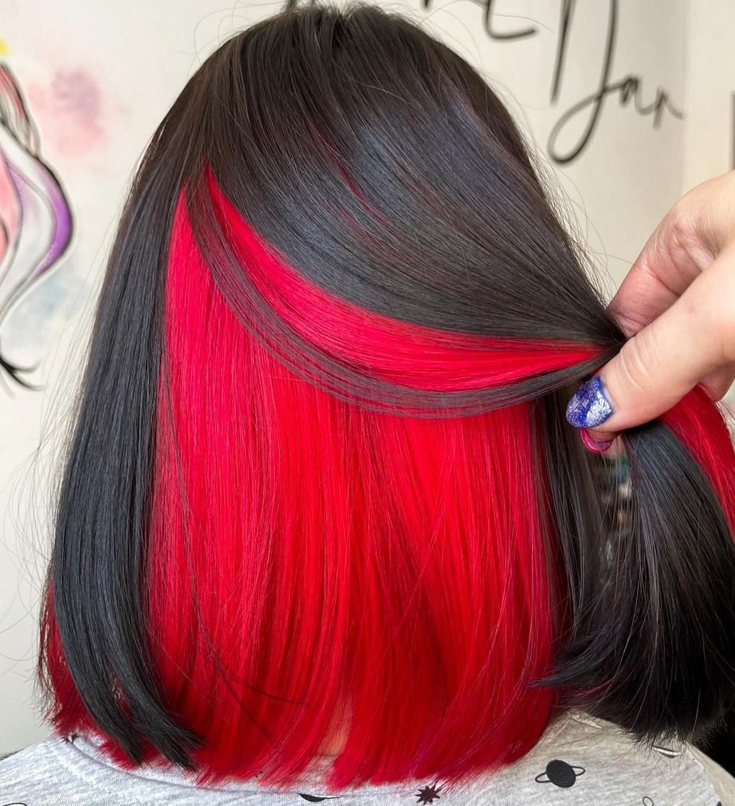 Dark Brown Lob with Red Hair Underneath