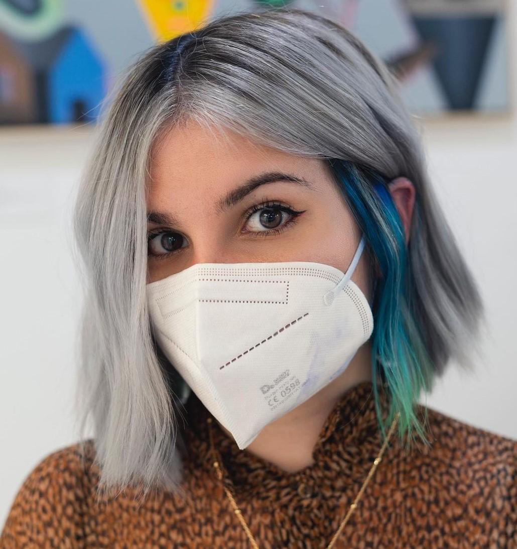 Gray Hair with Blue Peekaboo Highlights