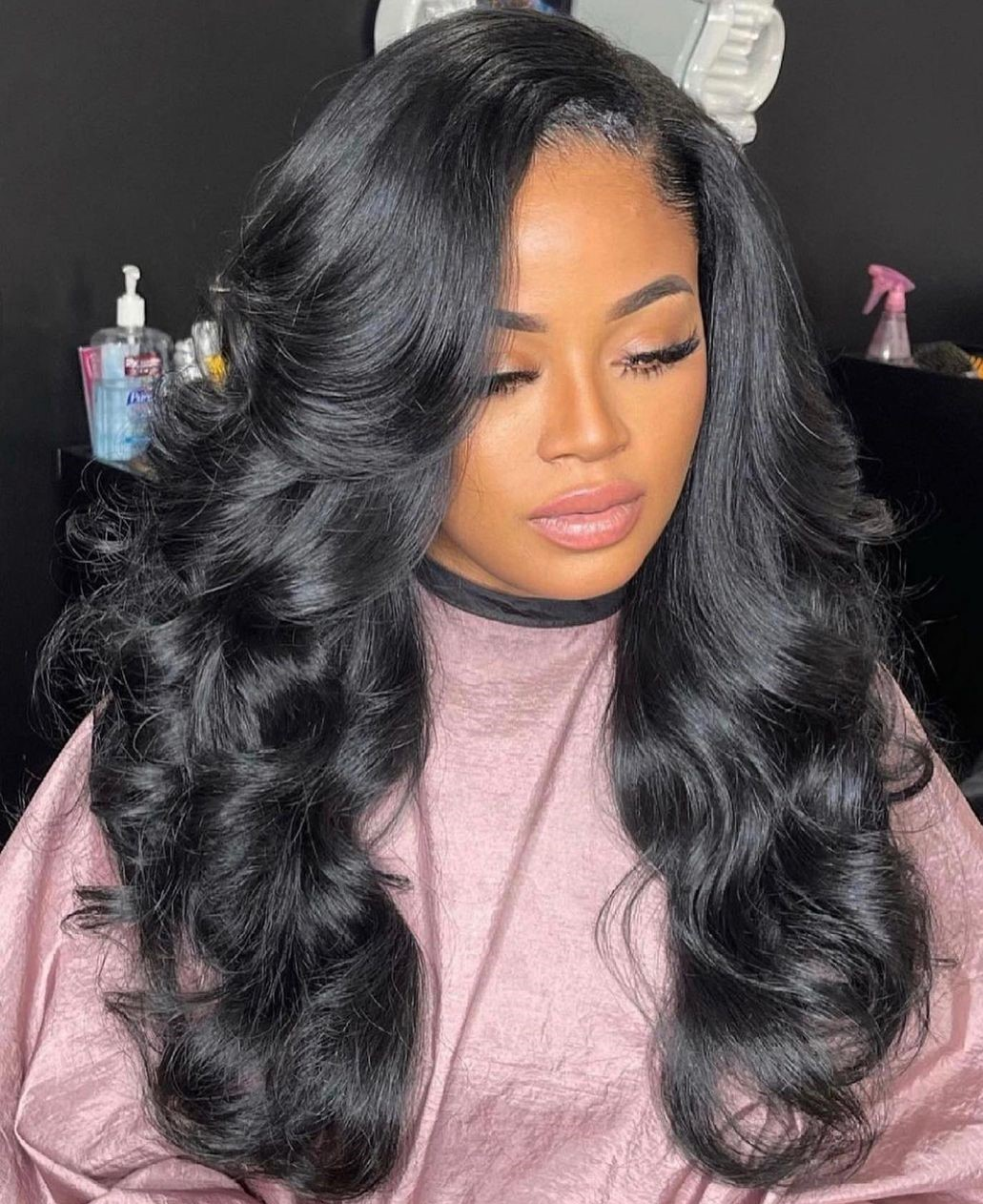 Long Black Curly Sew In