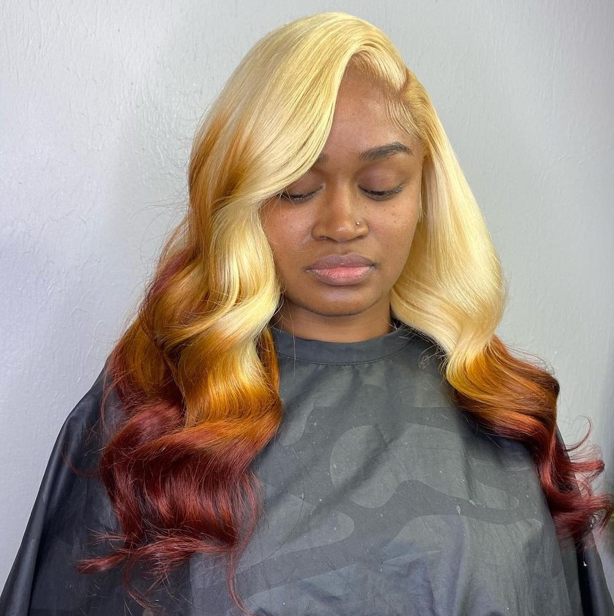 Blonde Ombre Sew-In with a Side Part