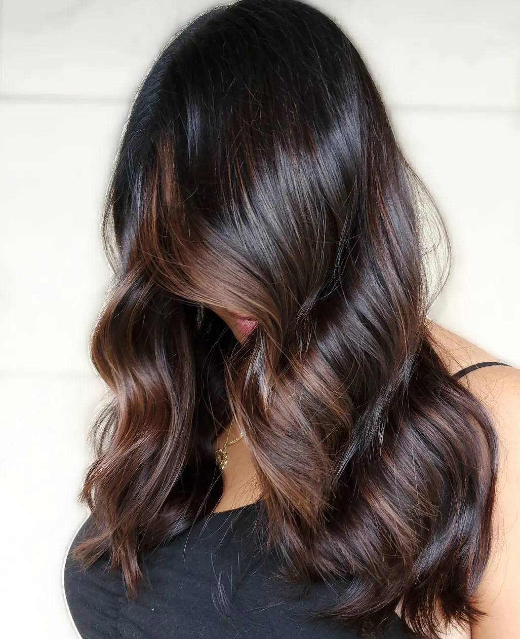 Partial Face-Framing Balayage for Brunettes