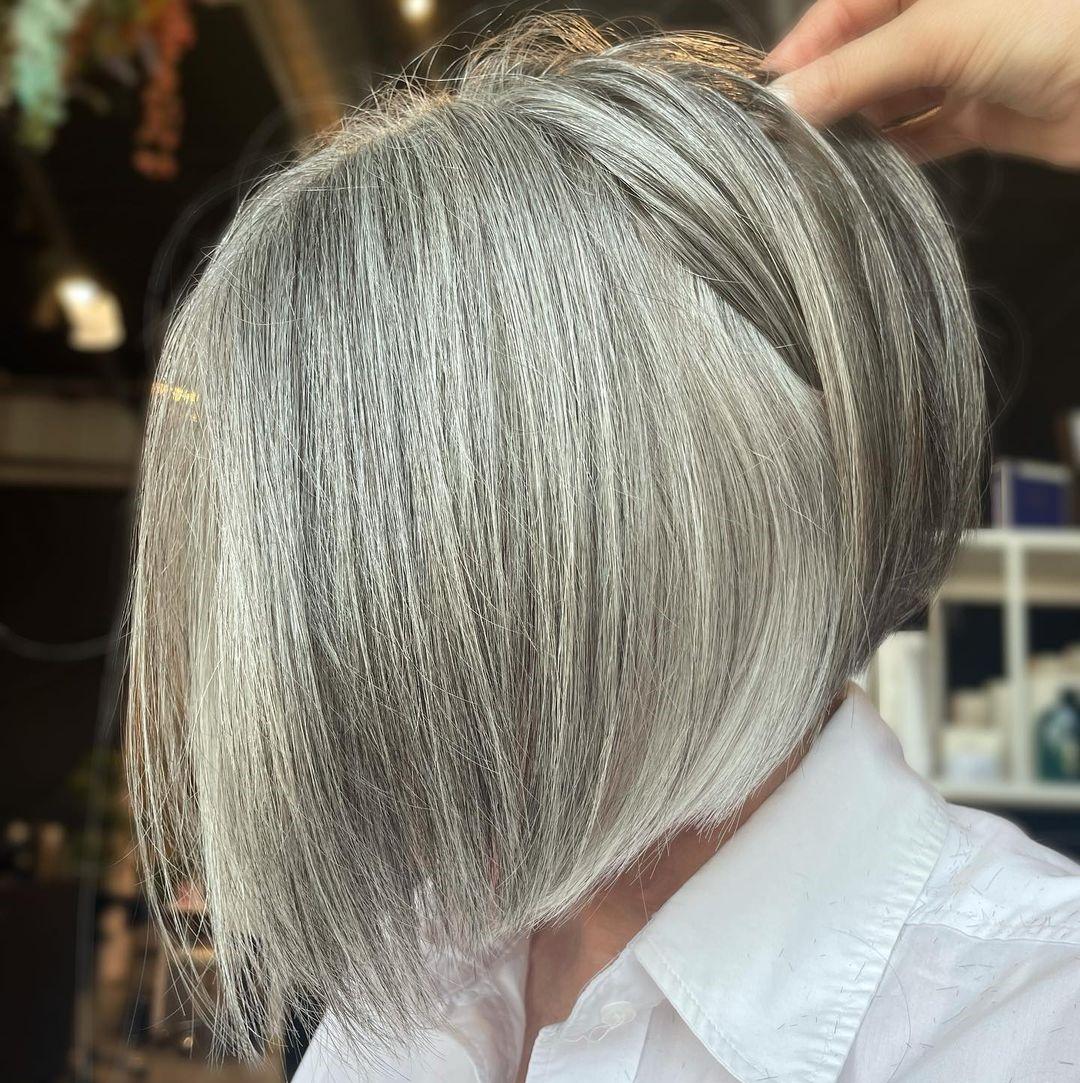 Bob Haircut Transitioning to Gray